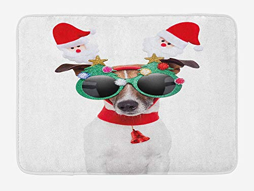 RS-pthrAB Christmas Bath Mat, Funny Puppy Jack Russel Dog with Hilarious Sunglasses Santa Figures and Bell, Plush Bathroom Decor Mat with Non Slip Backing, 16 W X24 L Inches, Multicolor ()