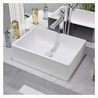 "K&A Company Basin Rectangular Ceramic White 16.1""x11.8""x4.7"""