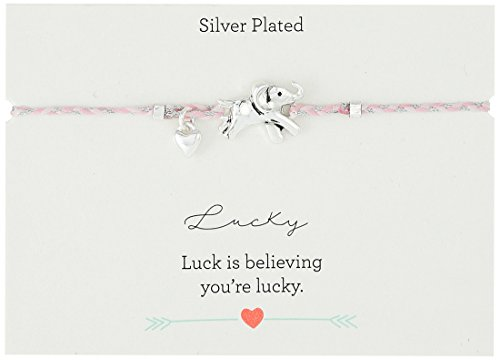 Braided Cord Sliding with Silver Plated Tree andFamily Charm Bracelet