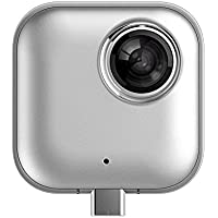 VR 360 Camera 720°Panoramic Camera Fisheye 3D Dual for Android with 220 Degree Angle (White-Square)