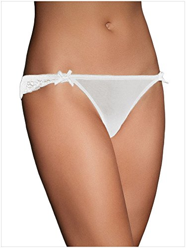 BYY Womens White Lace Crotchless Knicker (Pants Renaissance Knicker)