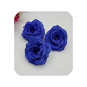 10pcs 8CM Wine red Silk Artificial Rose Flower Heads DIY Corsage Garment Party Decoration Wedding centerpieces Fake Flower Plant,RoyalBlue 84