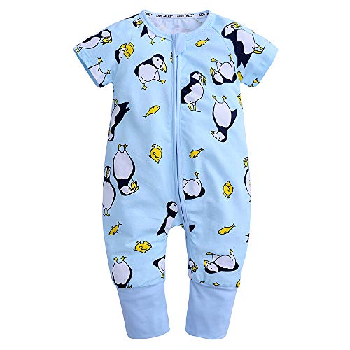 Cotton Sleeper Pajamas - Kids Tales Baby Boys Girls Zipper Short Sleeve Pajama Sleeper Cotton Romper(Size 3M-3T)