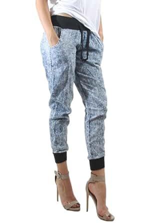SJ STYLE Acid Wash Denim Jogger Pants Black Cuffs Waistband Drawstring, L