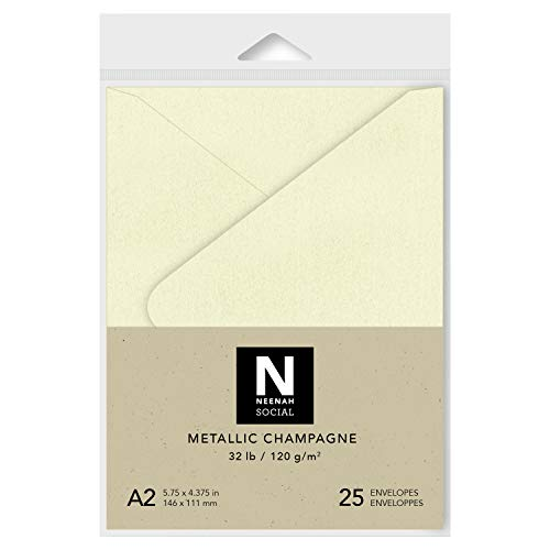 Neenah Social A2 Envelopes, 4-3/8 X 5-3/3 Inches, 32 lb, Metallic Champagne in Smooth Finish with Euro Flap and Moisture Seal Closure, 25 Count - Envelope Seals Champagne