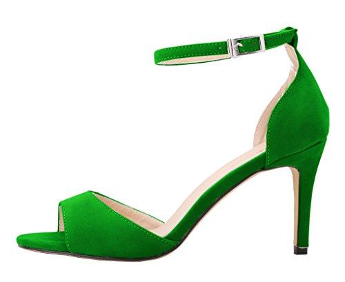 CAMSSOO Women's Classical Strappy Sandals Open Toe Low Heels SU-Green JTIcJ2QKRB