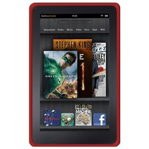 Amzer Soft Silicone Jelly Skin Fit Case Cover for Amazon Kindle Fire (2011) - Red (2011 Kindle Fire Cover)