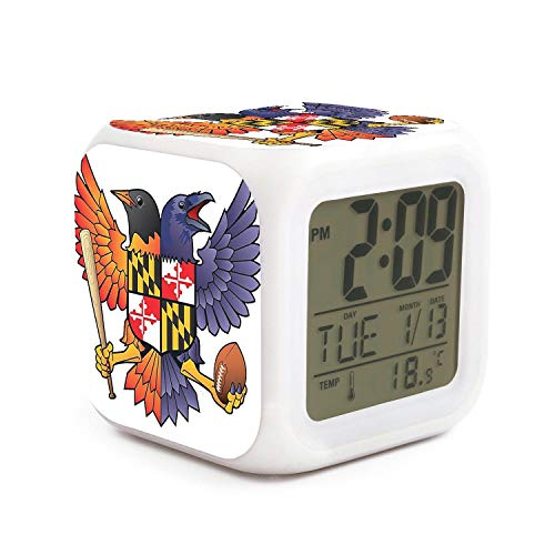 - DFTRR Birdland Baltimore Raven and Oriole Maryland Style 7 LED Color Change Digital Thermometer Alarm Clock with LCD Display Cube Night Light for Kids