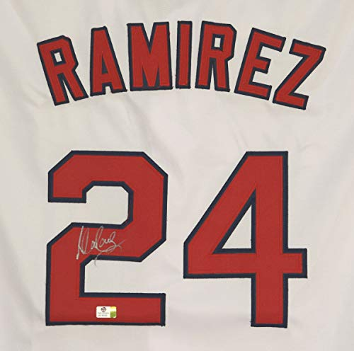 and Indians Signed Autographed White #24 Custom Jersey Witnessed COA ()