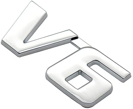 1x 3D Chrome Finish Metal V6 Emblem Alloy Badge Sticker (Chrome)