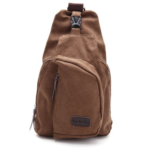 The Pecan Man Brown Men Vintage Canvas Messenger Shoulder Bag Chest Bag Backpack