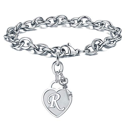 Initial Bracelets Valentines Gifts - Engraved R Initial Charm Bracelet Stainless Steel Handmade Dainty Heart Letters Bracelet Womens Valentine