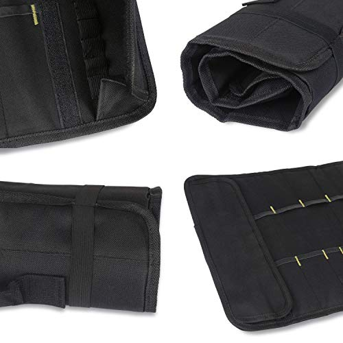 Tool Roll Up Bag by Extra-Perseverance - 22 Pockets Pouch Kit for for electricians, mechanics, handyman or any other professional (Black) by Extra-Perseverance (Image #3)
