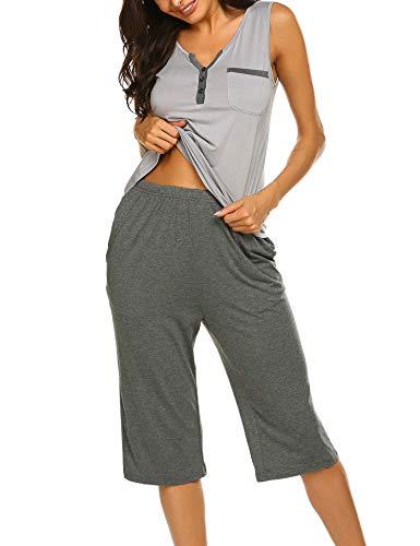 Ekouaer Women's Pajamas Soft Sleeveless Button Sleepwear Shorts Shirt Pj Set Light Grey