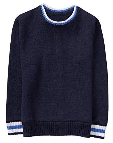 Gymboree Boys' Little Stripe Trim Sweater, Navy, M (Gymboree Boys Sweater)
