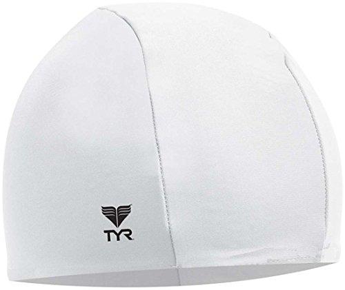 TYR Lycra Swim Cap, White - White Cap Swim