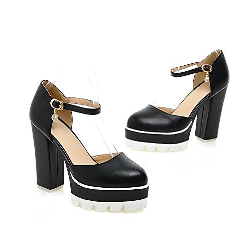 AmoonyFashion Womens Closed Toe High-Heels Soft Material Solid Buckle Sandals Black vVEwLD15wN