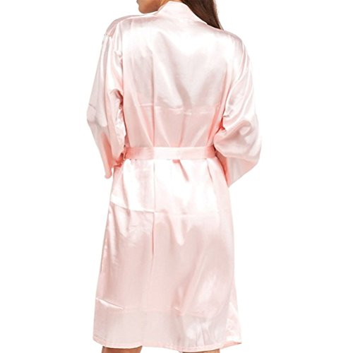 Laixing Buena Calidad Hot Women's Robes Long Classic Satin Lounge Wedding Kimono Nightwear CL-MS06 Pink