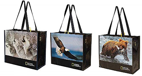 Reusable Grocery Bags Shopping Totes with National Geographic Prints Heavy Duty Made From RECYCLED PLASTIC BOTTLES Laminated Rpet (Set of 3) (Eagle/Bear/Wolves) ()