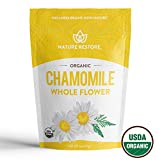 Nature Restore USDA Certified Organic Chamomile Tea Loose, Whole Flower, 4 Ounces, Bulk