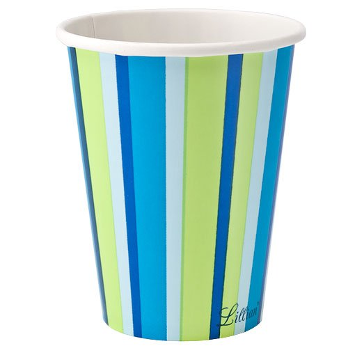 Lillian Tablesettings Twin Stack Paper Cups Set, 9-Ounce, Bright Blue Stripe, 24-Piece