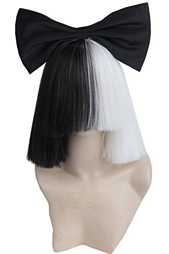 Topcosplay Women's Black and White 2 Tone Short Straight Cosplay Halloween Wig Hair (Wig and Bow) (Lady Gaga Costume Halloween)