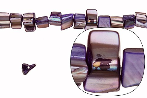 Shell bead, purple(dyed) Mother-of-Pearl, nuggets and chips, xmm 16 inch (Shell Beads Nugget)
