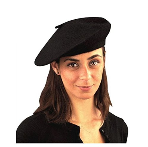 French Beatnik Costume (Beatnik Scene Trendy Knit Black French Beret Hat Costume Accessory Adult Women)