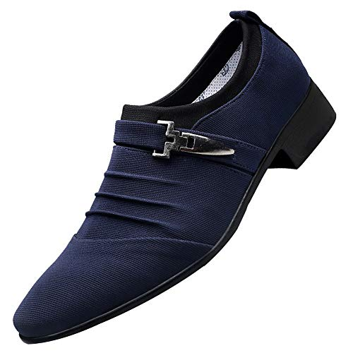 Mens Double Monk Strap Slip-on Loafer Oxford Formal Business Casual Dress Shoes for Men Pointed Toe Shoes Blue