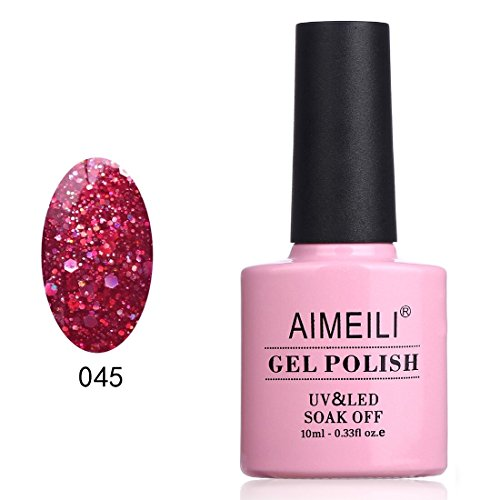 AIMEILI Soak Off UV LED Gel Nail Polish - Diamond Glitter Merlot Red (045) 10ml ()