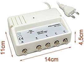 Metronic 432175 - Amplificador señal de Antena TV, Compatible 4G, 28dB, 4 Salidas con Toma F, Interior, Blanco: Amazon.es: Electrónica