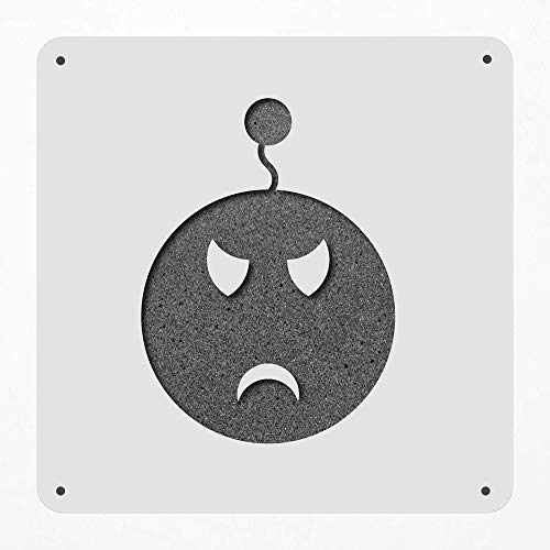 Stencil Large 12 Inch Angry Emotion Status Face Plastic Mylar Stencil Painting, Walls, Crafts, Signs, Item 260931 ()