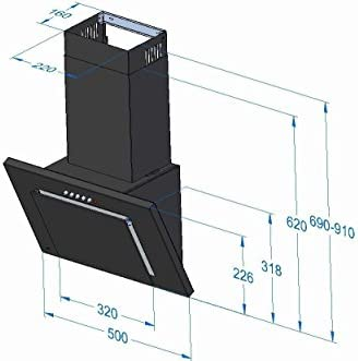 Akpo - Campana extractora wk-4 nero line negro / 50cm / 320m3/h - campana extractora de cocina: Amazon.es: Grandes electrodomésticos