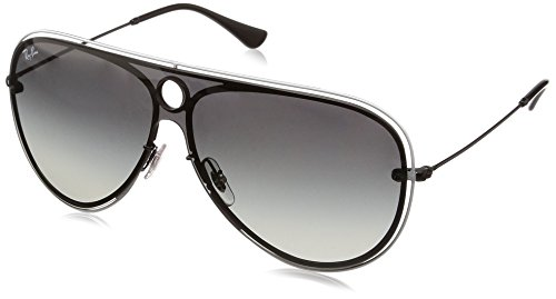 Ray-Ban RB3605N Aviator Sunglasses, Black & White/Grey Gradient, 32 ()