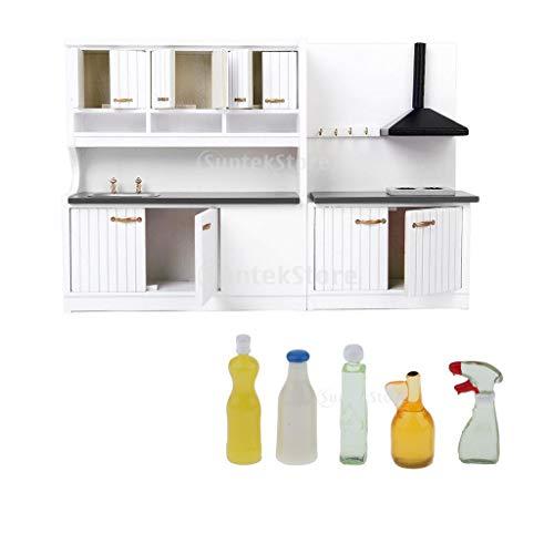 Prettyia Modern Kitchen Set Furniture Model Kit for 1:12 Dollhouse Miniatures Furniture