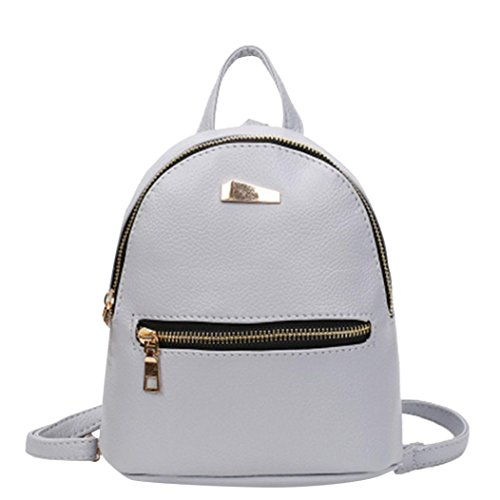 School Travel Rucksack Nevera Backpacks Bags College Satchel Women Clearance Black Shoulder Leather Gray qwIH646T