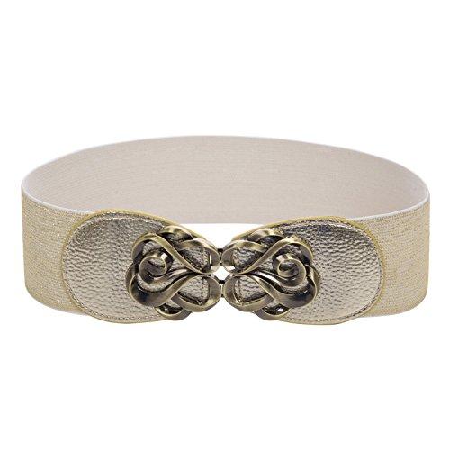 Women Gold Wide Waist Belt Stretch Corset Belt S CL413-8