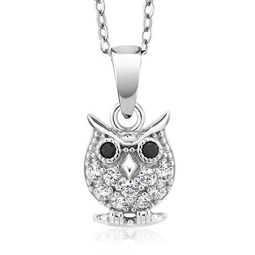 925 Sterling Silver Owl Pendant With 18 Inch Chain Made With Swarovski Zirconia