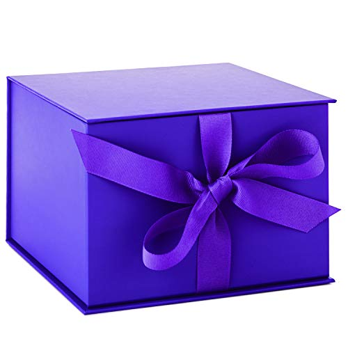 Hallmark Large Purple Gift Box with Lid and Shredded Paper Fill for Weddings, Birthdays and More