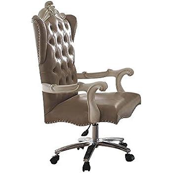 Amazon Com Acme Versailles Light Brown Faux Leather Chair