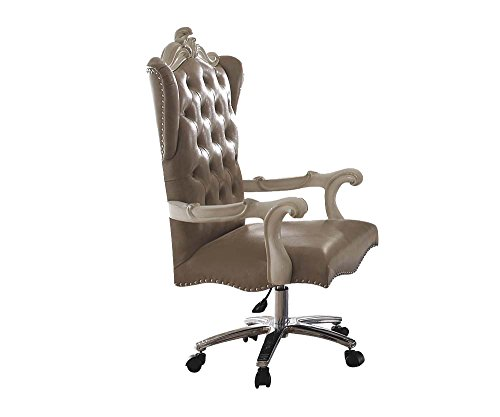 ACME Versailles Vintage Gray Faux Leather Chair with Swivel and ()