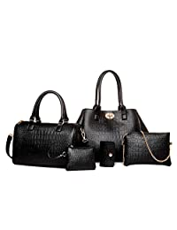 Tibes Fashion Luxury PU Leather Handbag Tote Shoulder Bag Purse Card Holder 5pcs Set Purse for Women/Girls/Ladies