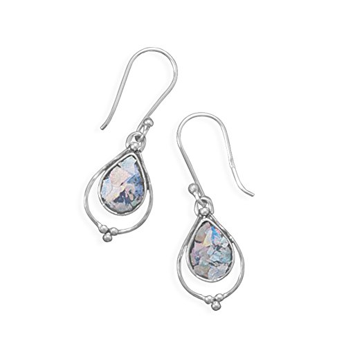 Ancient Roman Glass Earrings Dangle Small Teardrop Sterling Silver ()