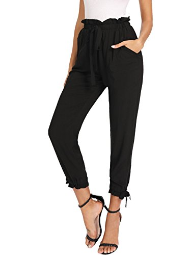 SheIn Women's Elastic Waist Comfy Bow Tie Hem Crop Skinny Pants with Pockets X-Small Plain Black (Bow Comfy)