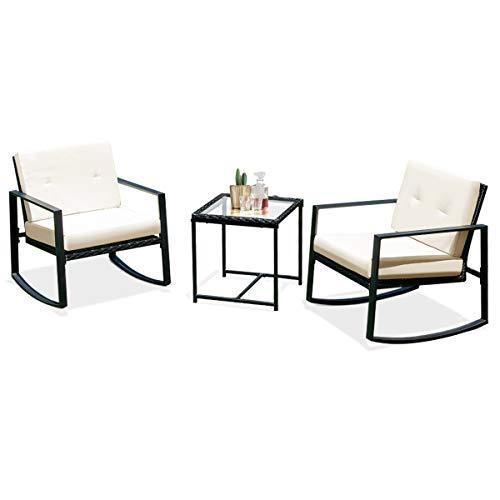 (Tangkula 3 PCS Patio Rattan Wicker Furniture Set Outdoor Garden Glass Top Coffee Table & Rocking Wicker Chair Set w/Red Cushions (Rattan Non-Full Hemming))
