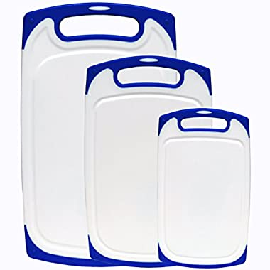 Dutis 3-Piece Dishwasher Safe Plastic Cutting Board Set with Non-Slip Feet and Deep Drip Juice Groove, White with Blue