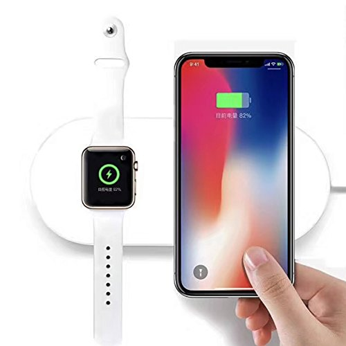 FACEVER 2 in 1 Qi Wireless Charging Pad, Fast Charger Compatible with iWatch Apple Watch Series 4/3/2, iPhone X XS MAX XR 8 8 Plus, Samsung S8 S7 Edge S6 Edge+ Note 8, Nexus 5/6/7, White