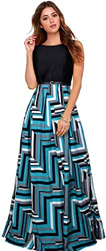 d7913e7ed1ce Aarna Fashion Women s Crepe Printed Western Gown with Belt (skyskirt ...