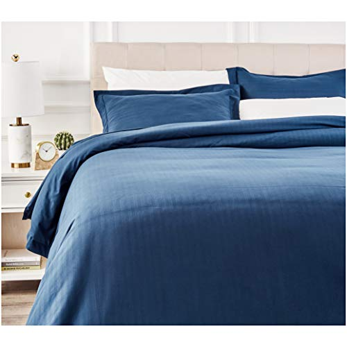 AmazonBasics Deluxe Striped Microfiber Duvet Cover Set - Full or Queen, Navy Blue