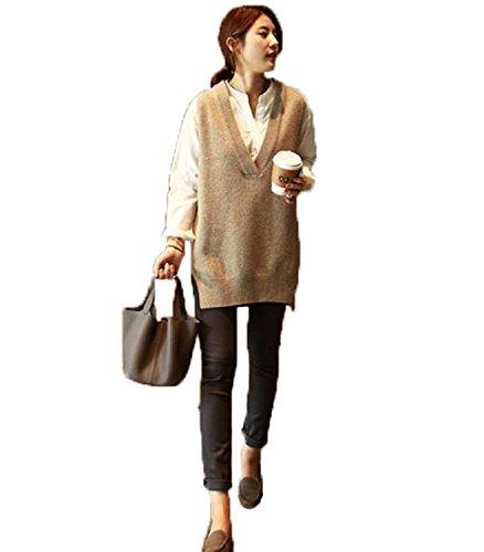 練る可能性溶けたアイビエツ(AIBIETU)レディース ファッション ニット ベスト カジュアル Vネック ゆったり 無地 シンプル ニット ベスト